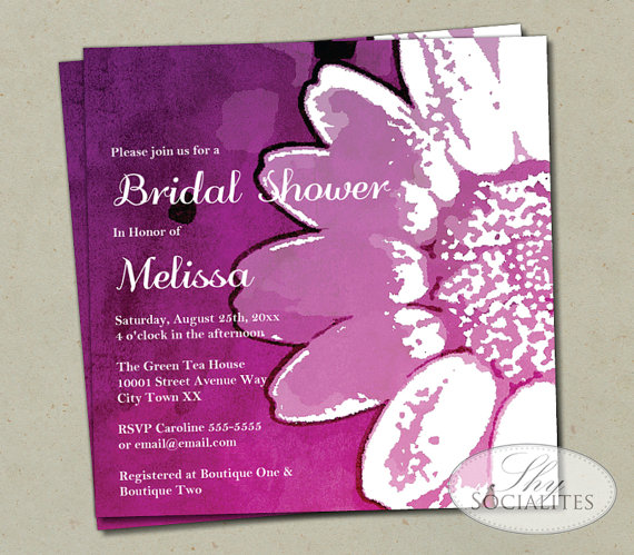 Wedding - Pink Ombre Watercolor Sunflower Invitation