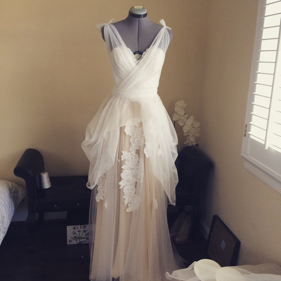 One Of A Kind Wedding Dress- Soft White Champagne Dress -size S ...