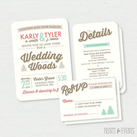 Wedding - Wedding in the Woods Invitation - Printable Wedding Invitation - Woodland Wedding Invitation