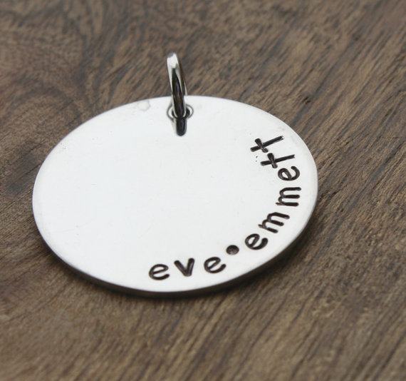 Wedding - Circle Charm, Hand Stamped Pendant, Large Circle, Custom Names, Personalized Words, Unique Charm for Jewelry, Add on Charm, Add on Pendant