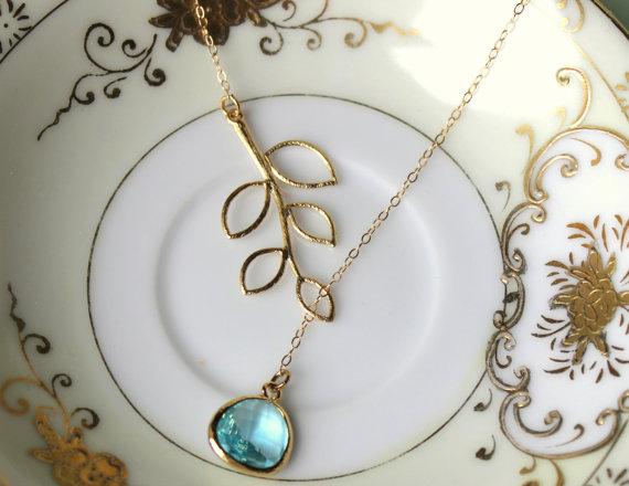 Свадьба - Aquamarine Lariat Necklace Aqua Blue Lariat Leaf Gold Necklace - Bridal Necklace - Bridesmaid Lariat Necklace - Bridesmaid Jewelry Wedding