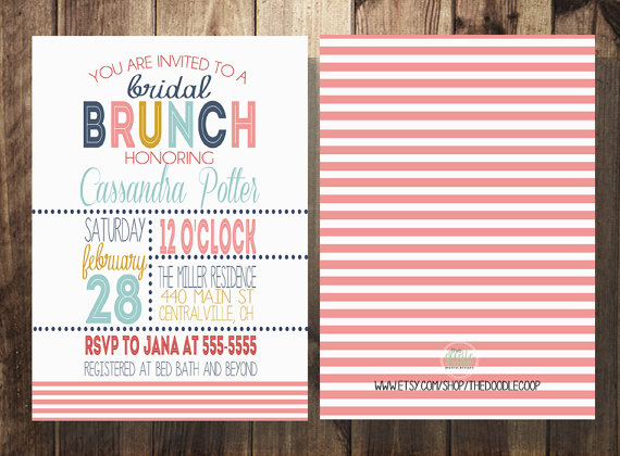 Bridal Shower Brunch Invitation Bridal Shower Coral Navy Gold