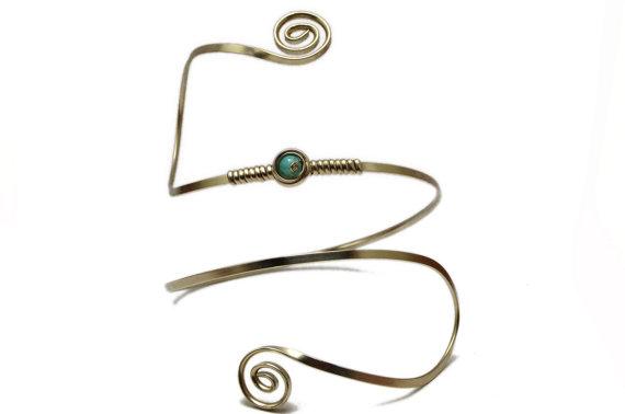 Blue Stone Bridal Armband Spiral Armlet Wire Wrap Arm Cuff
