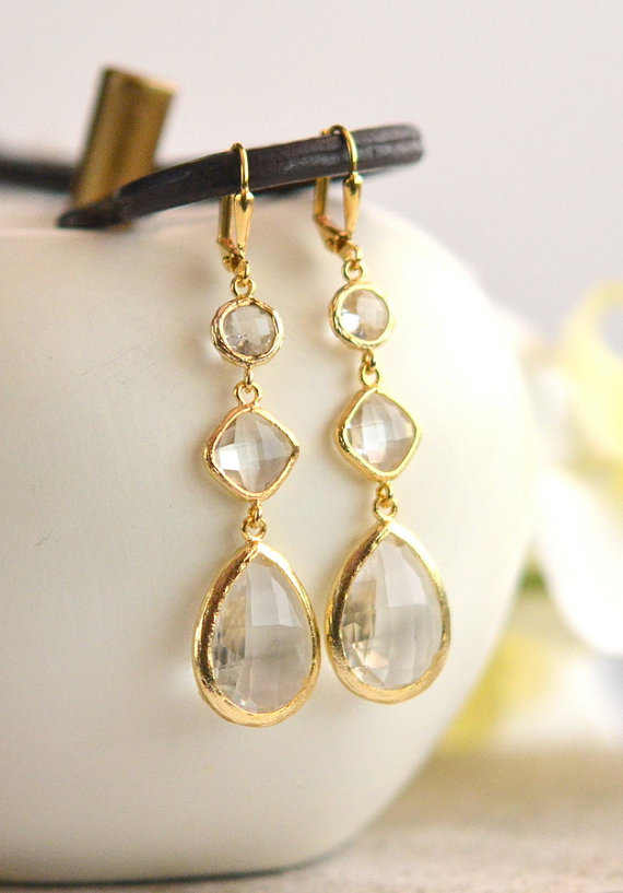 Mariage - Long Jewel Earrings in Clear Crystals.  Bridesmaids Earrings. Dangle Earrings.  Bridal Jewelry. Modern Fashion Earrings. Wedding. Gift.