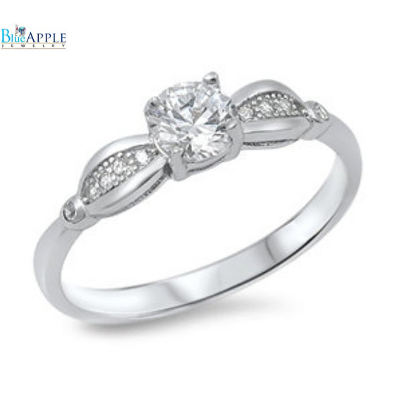Wedding - Vintage 0.86 Carat Rund Russian Clear White Diamond CZ Solitaire Accent Solid 925 Sterling Silver Wedding Engagement Anniversary Ring 2-14