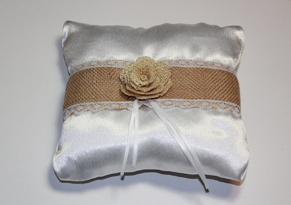Hochzeit - Ring Bearer Satin White Pillow - Pillow With Burlap Flower - Wedding Ring Pillow - Wedding Ring Alternative Pillow - Ring Bearer