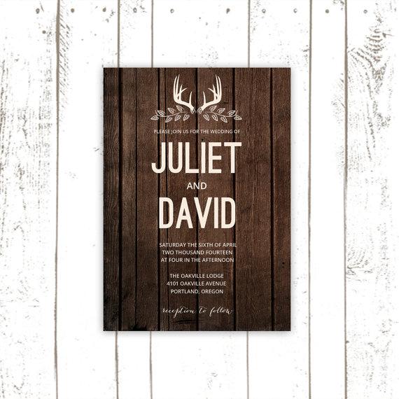 Hochzeit - Rustic Wedding Invitation Set, Deer Antler Invitations, Wood Invitations, Antler Wedding