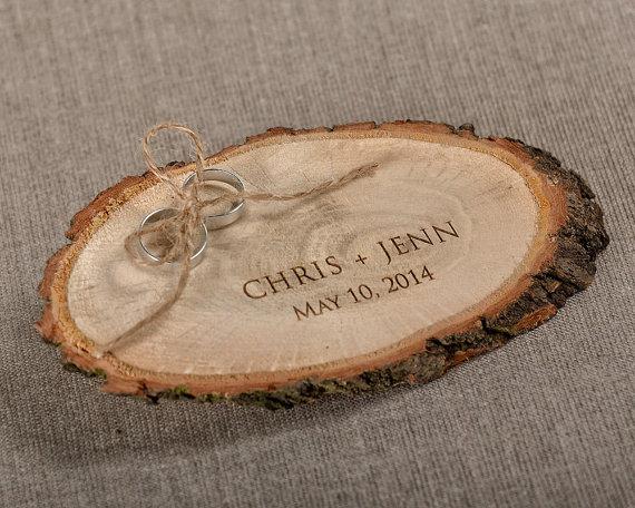d09dd92e85 Engraved Wood Wedding Ring Bearer Slice, Rustic Wooden Ring Holder , Burlap Ring  Bearer Pillow