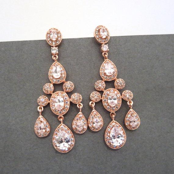 rose gold bridal earrings rose gold chandelier earrings chandelier wedding earrings crystal earrings bridal jewelry rhinestone earrings