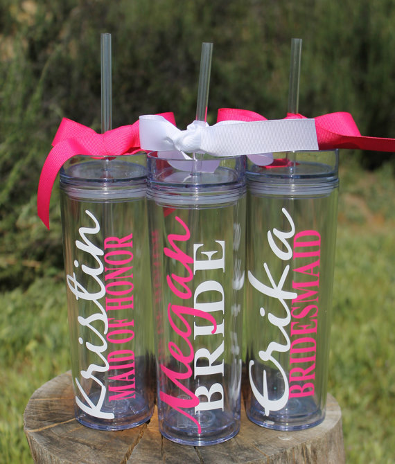 ab7eb429345 Set of 6 Tall Skinny Personalized Tumblers - Great Gift - Bridesmaids Gift  - Bridal Party Tumblers - Bachelorette Gifts - Wedding Tumblers