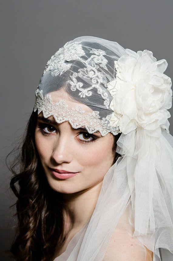 Hochzeit - AURORA - Lace Cap, Juliet Veil, Juliet Lace Cap, Wedding Cap, Bridal Cap, Bridal, Seen On Cover Of Today's Bride, Seen On Style Me Pretty
