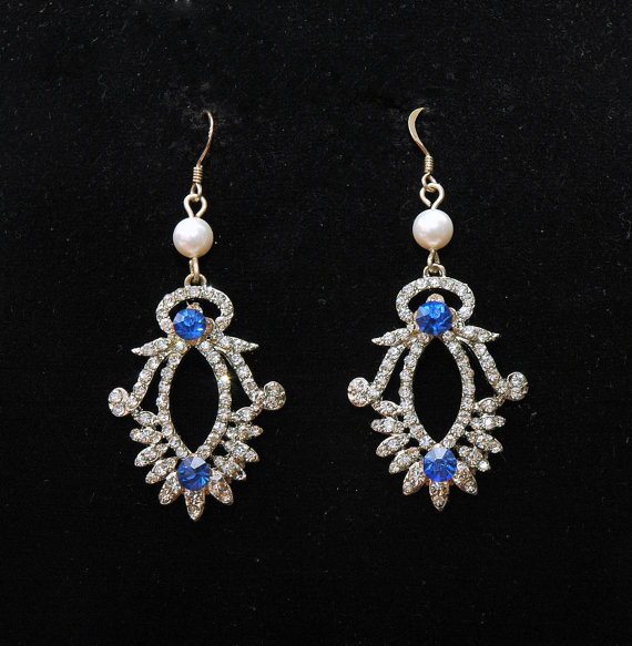 Wedding Blue Earrings Something Bridal Jewelry Art Deco Crystal Rhinestone