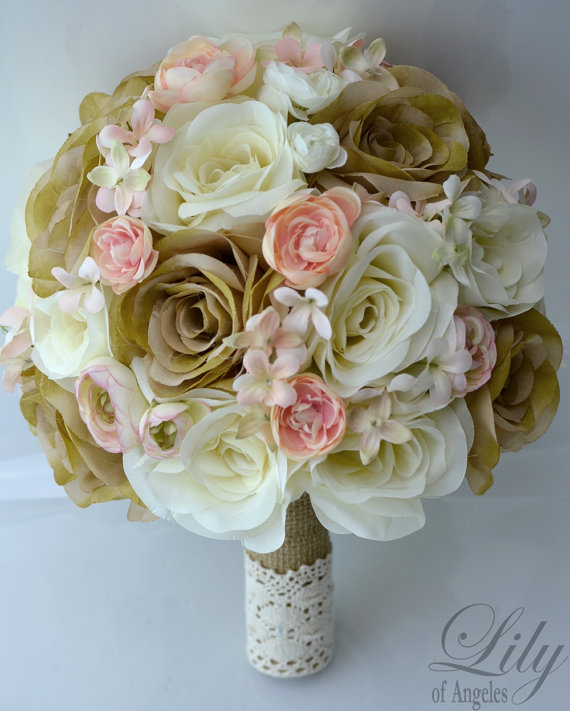 "Hochzeit - 17 Piece Package Wedding Bridal Bride Maid Of Honor Bridesmaid Bouquet Boutonniere Corsage Silk Flower PEACH CREAM BURLAP ""Lily of Angeles"""