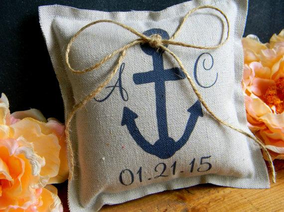 Mariage - Anchor Ring Bearer Pillow Nautical Beach Navy Canvas Ringbearer Pillow Personalized Ring Bearer Pillow