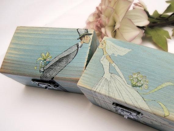 زفاف - Personalized Turquoise Wedding Ring bearer box Wooden box Gift box Wedding decor gift idea