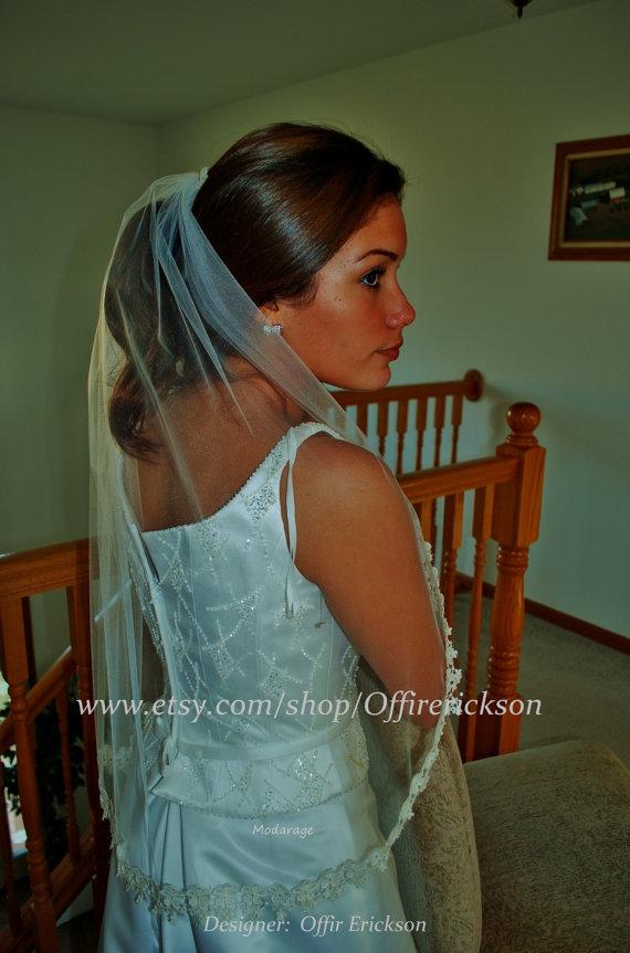 Hochzeit - Ivory 1 Layer  Lace Wedding Veil/ Wedding veil/ lace wedding veil
