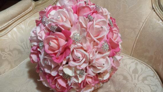 زفاف - Rhinestone and real touch wedding bouquet in pink, bridal bouquet, rhinestone bouquet