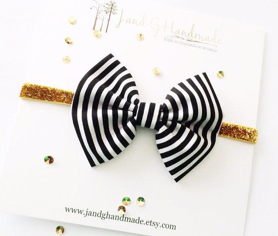 Mariage - Baby/Child/Girl White Black Stripes Fabric Hair Bow Headband/Hair Clip, Gold Glitter Dressy Hair Accessory Headband, Newborn Photo Prop