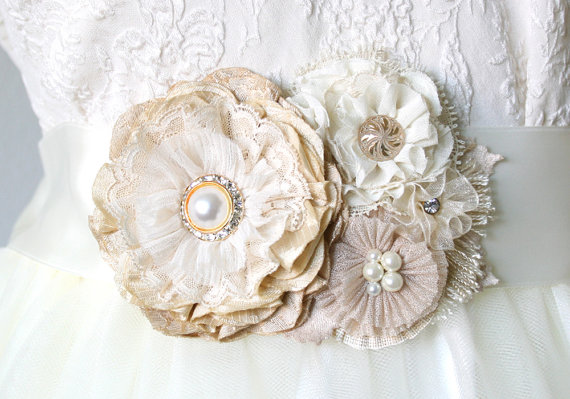 Floral sash wedding sashes bridal belt fabric flowers pearl floral sash wedding sashes bridal belt fabric flowers pearl rhinestone natural white ivory brooch bridesmaid corsage flower pin mightylinksfo