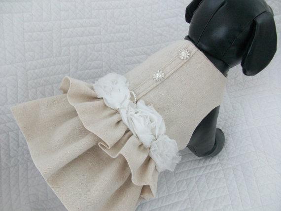 Mariage - Burlap Wedding Dog Dress Custom Made