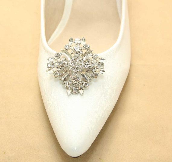 Mariage - A Pair Of Rhombus Crystal Shoe Clips,Rhinestone Shoe Clips,Wedding Bridal Shoe Clips,Rhombus,Shoes Decoration Establishment,Dance Shoe Clips