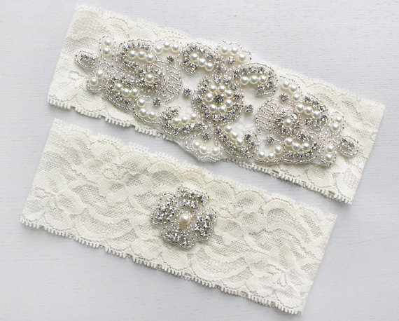 Wedding - ALANA - Ivory Stretch Lace Garter, Pearl Wedding Garter Set, Rhinestone Crystal Bridal Garters, Keepsake Garter