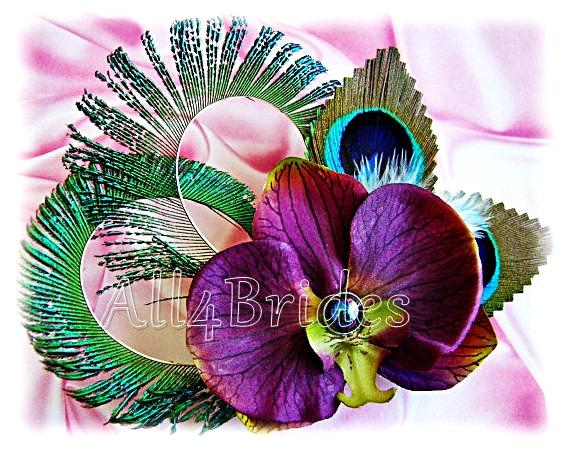 Mariage - Peacock Feathers and Orchid Fascinator - Peacock Weddings Bridal Hair Accessories -  Purple Plum and Green