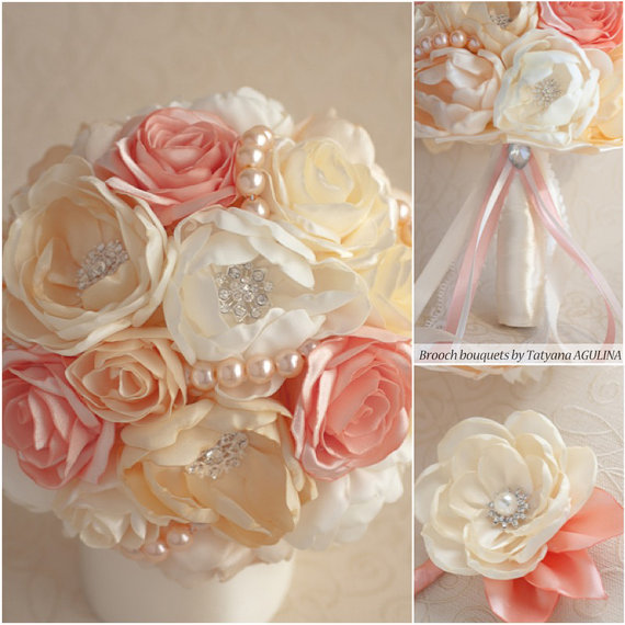 Mariage - Brooch bouquet. Pink coral,Ivory, Pale Yellow lace, silver brooch bouquet.