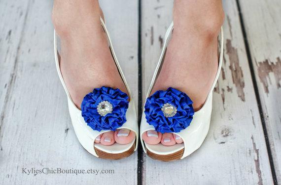 Свадьба - Royal Blue Shoe Clips - Wedding, Bridesmaid, Date Night, Party, Everyday wear