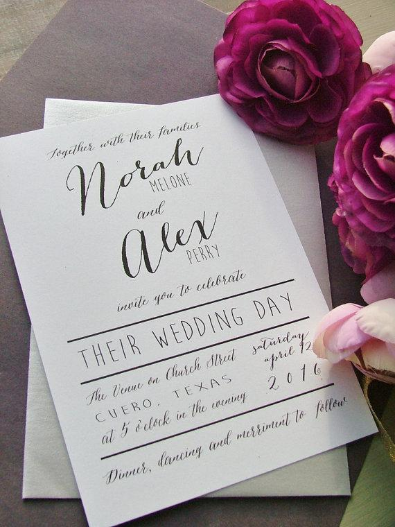 Mariage - Modern wedding invitations, simple, preppy wedding