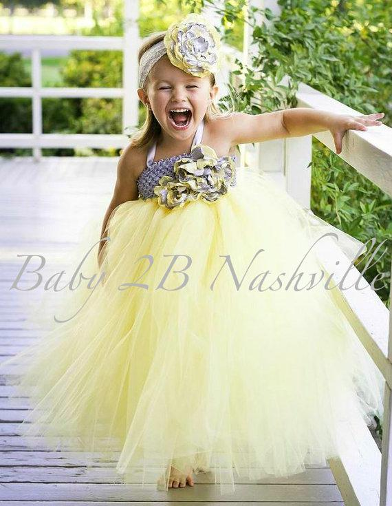 Hochzeit - Yellow Flower Girl Dress with Silver Wedding Flower Girl Tutu Dress All Sizes Girls