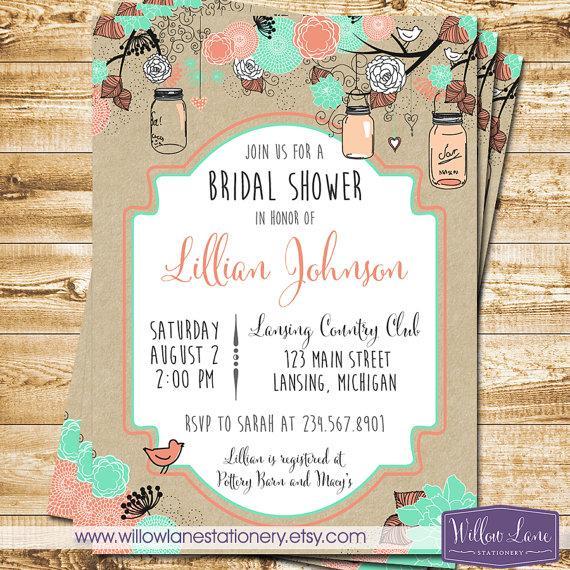 Mariage - Bridal Shower Invitation - Mason Jar Bridal Shower Invitation - Bridal Shower Invite - Kraft Coral Mint Mason Jar Wedding - 1301 PRINTABLE