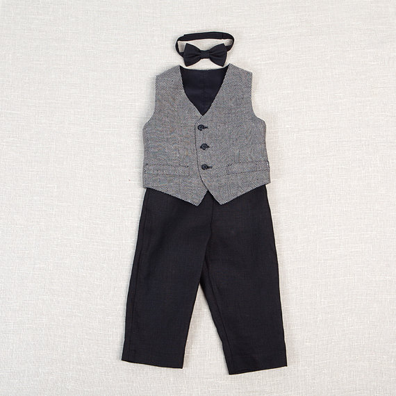 d5ebfa155 Baby boy ring bearer outfit boy baptism linen suit first birthday natural  clothes kids rustic wedding beach photos black formal SET of 3