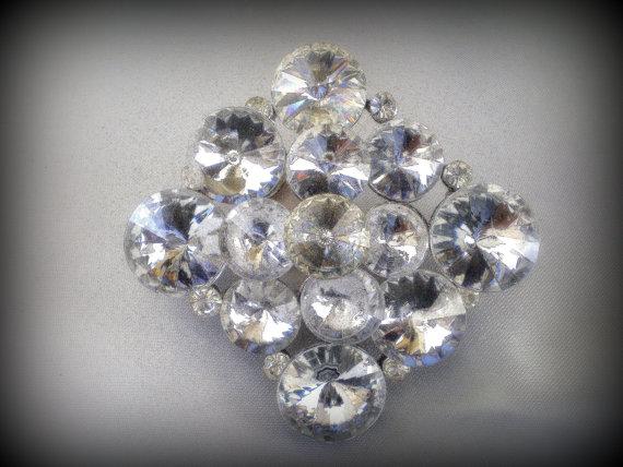 Свадьба - 50% SALE Vintage Wedding Brooch..Wedding Pin..Bridal Brooch..Bridal Pin..Bridal Sash Pin..Art Deco Brooch..Austrian Crystal 80's Jewelry NOS