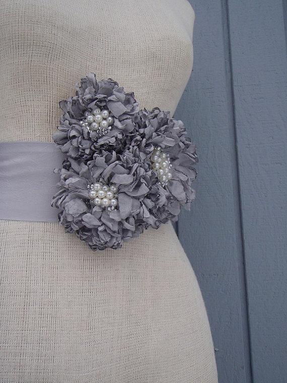 Mariage - wedding bridal sash handmade grey color sash