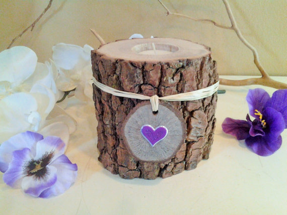Mariage - Purple heart Candle -  Tree branch candle - Mothers day candle - Rustic wood candle - Weddings - Anniversary - Purple heart
