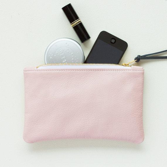 Mariage - Pale Pink Leather Zipper Clutch, Zipper Pouch, Zipper Wallet, Everyday Clutch, Wedding Clutch, Cell Phone Pouch