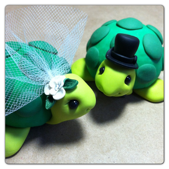 Mariage - READY TO SHIP Turtle Wedding Cake Topper Handmade