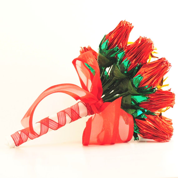 Mariage - Red Foil Rose Wedding Bouquet, Origami Crane Roses with Ribbon wrapped Tailored Stems