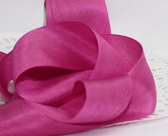 """Mariage - Hot Pink/Fuchsia Silk Ribbon 1.25"""" wide by the yard Weddings, Sewing, Crafts, Gift Wrap, Bouquets, 100% Silk"""