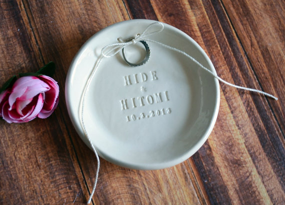 Wedding - Personalized Round Ring Bearer Bowl with Names - Gift Bagged & Ready to Give