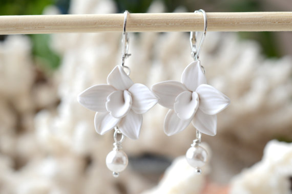 Mariage - White Orchid Earrings, Swarovski Pearls,White Flower Earrings, Hand Sculpted, Bridal Jewelry, Bridal Earrings