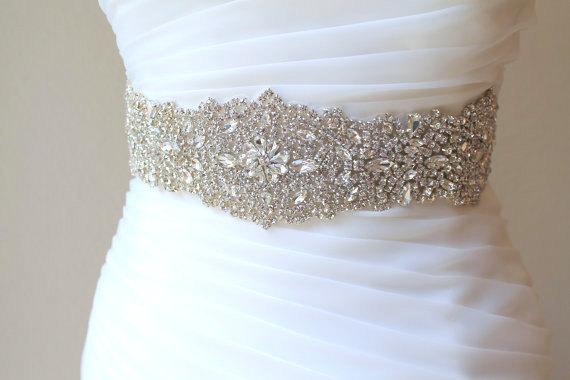 "Hochzeit - Bridal beaded luxury wide crystal sash. Wedding couture rhinestone belt. 16""  VINTAGE CRYSTAL"