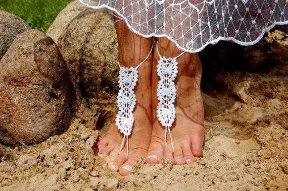 Mariage - Crochet Beach Wedding Shoes, Crochet Barefoot Sandals, Anklet, Wedding Accessories, Nude Shoes, Yoga socks, Foot Jewelry