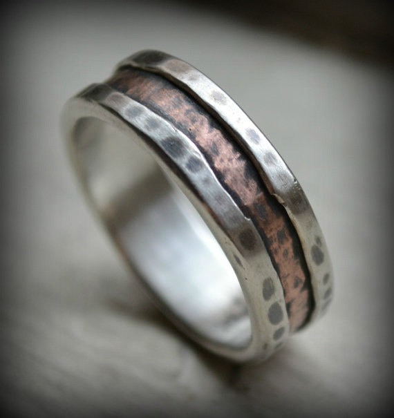 Wedding - rustic fine silver and copper ring - handmade wedding or engagement band - customized