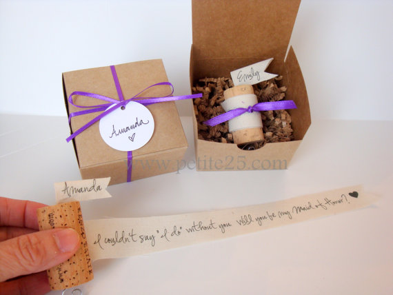 Wedding - One (1)-  Wine Cork Bridesmaid Proposal - Will you be my bridesmaid, invitation, rustic, natural, maid of honor, proposal