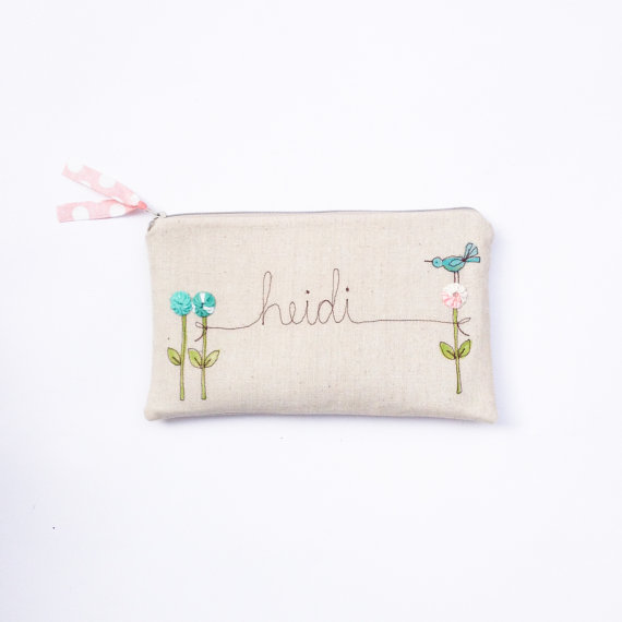 Mariage - Pastel Summer Wedding Clutch, Personalized Bridesmaid Gift Idea, Mint Blue and Peach, MADE TO ORDER by MamaBleuDesigns