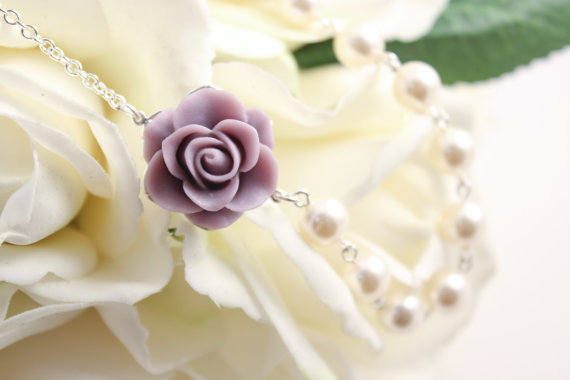 Mariage - Bridal Jewelry Light Purple Rose and Pearl Bridesmaid Necklace