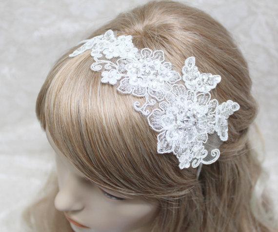 Wedding - lace headband - bridal headband, wedding bridal headband,white lace headband, bridal hair accessory, sequin headband,