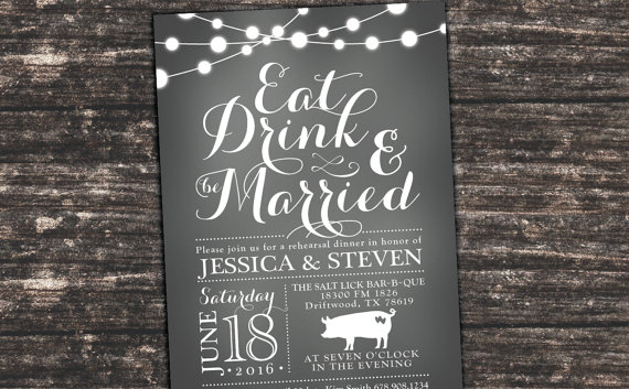 rehearsal dinner invitations - chalkboard - grey - eat drink and, Wedding invitations